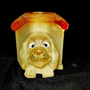 Glass Puppy in kennel candle holders